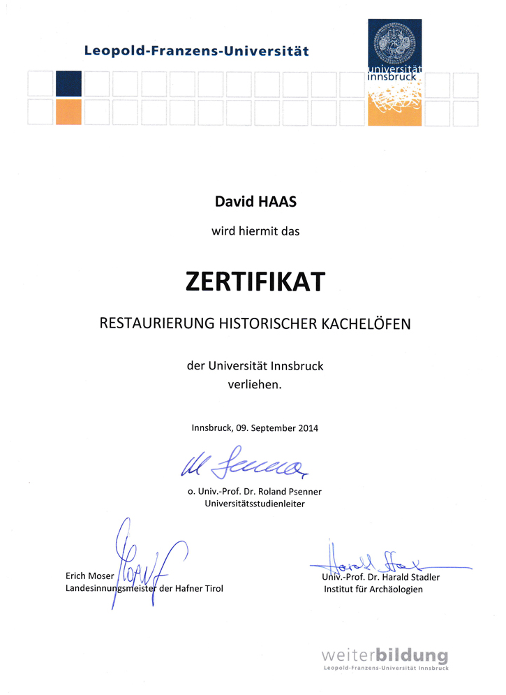 Zertifikat Restaurator Historischer Öfen