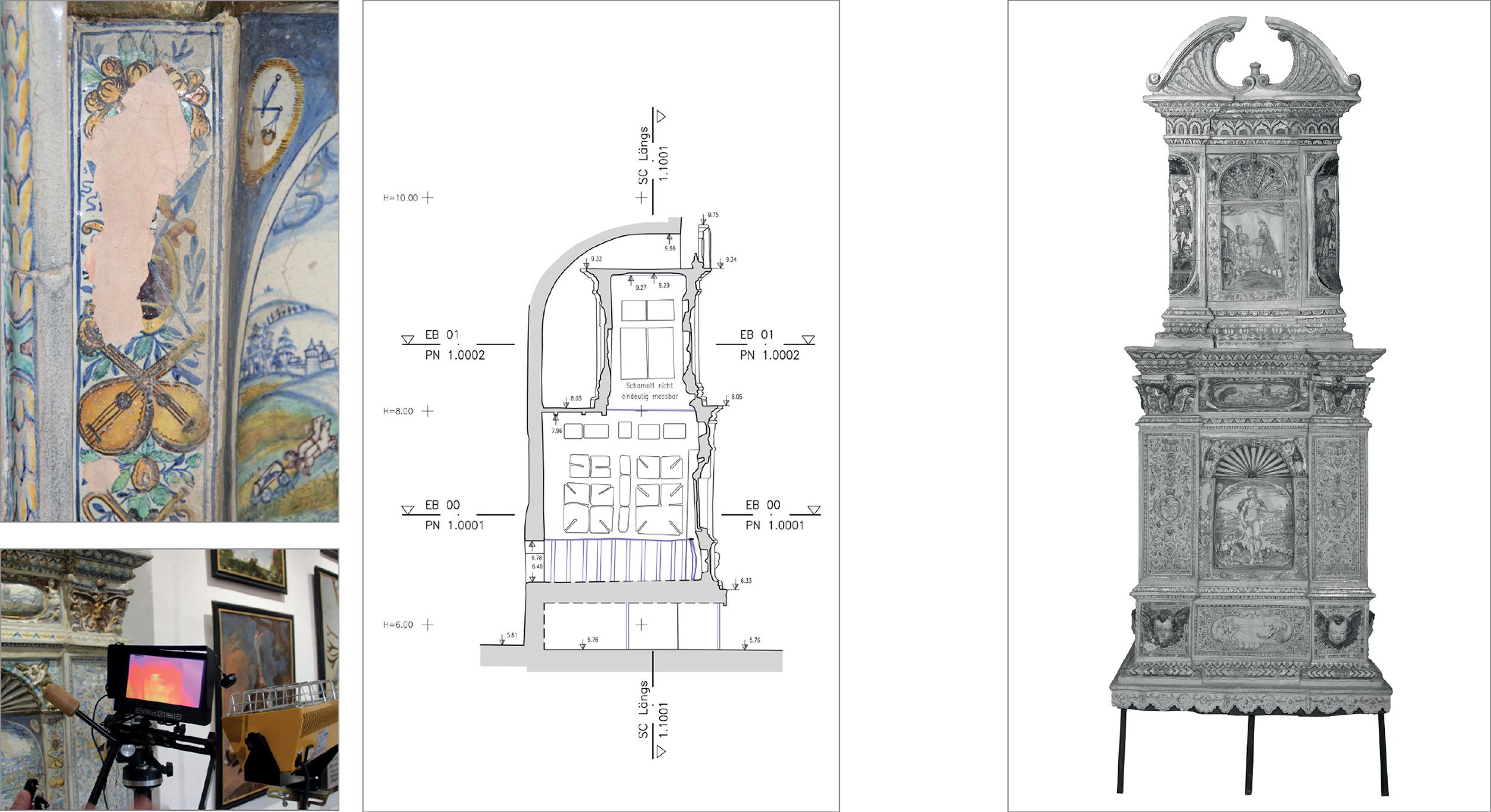 Pläne und Fotos eines historischen Kachelofen's um 1608
